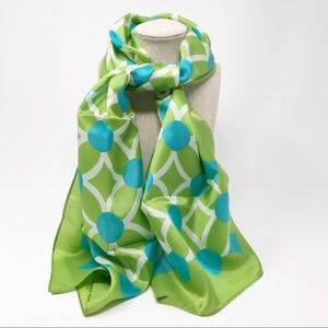 Vintage Long Scarf Lime and Blue Retro Mod Print
